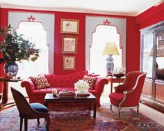 Modern Living Rooms Design with Red Couch and Red Sofa 6 Living Room Red, Living Room Modern, Living Room Designs, Elle Decor, Classic Decor, Classic Style, Red Rooms, Pink Room, Red Interiors