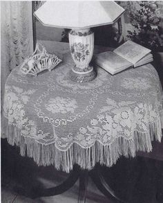 Vintage 40s Filet Crochet Lace Patterns Edgings Pillows Tablecloth Runner Doily | eBay