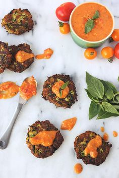 Grain-free Zucchini Fritters with Roasted Garlic and Heirloom Tomato Compote // Tasty Yummies