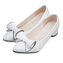 aad42153237 Women Bowknot PU Low Heel Shoes - White Women s Pumps