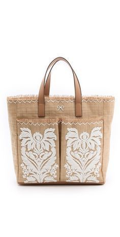 Anya Hindmarch Nevis Tote with Raffia. Think I might have to treat myself . My Bags, Purses And Bags, Diy Sac, Ethnic Bag, Fabric Bags, Anya Hindmarch, Beautiful Bags, Handbag Accessories, Fashion Bags