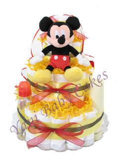 Baby Diaper Cake Shower Centerpiece /Sale! Disney Mickey Mouse Deluxe Diaper Cake 3 Tier/ Baby Shower Gift and New Baby Gift on Etsy, $75.00