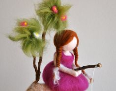 Items similar to Waldorf inspired needle felted doll mobile: Strawberry fairy on Etsy