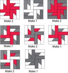 quilt pattern windmills at night detail