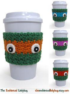 Crochet Ninja Turtle Inspired Coffee Cup by TheEnchantedLadybug, $14.00