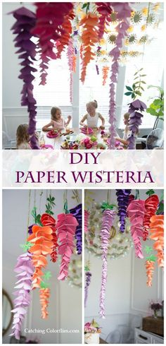 Diy paper wisteria flowers hanging paper decor diy fairy birthday party ideas printable flower templates how to mod podge flower pots easy diy gift idea Kids Crafts, Diy And Crafts, Diy Paper Crafts, Diy Crafts For Adults, New Crafts, Diys With Paper, Kids Diy, Easy Crafts With Paper, Flower Crafts Kids