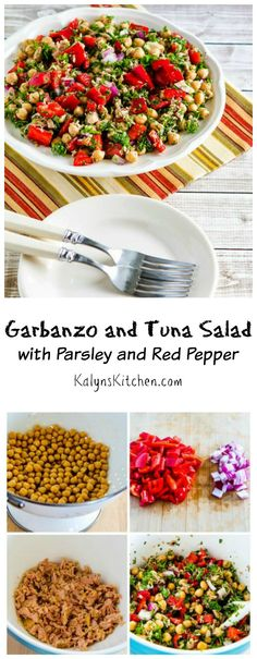This easy Garbanzo and Tuna Salad with Parsley and Red Pepper is perfect for fall when peppers are abundant and extra flavorful. [from KalynsKitchen.com]