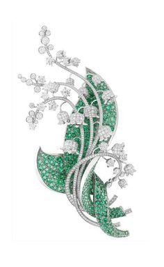 Van Cleef & Arpels  Pregadeira Muguet, em platina, diamantes e esmeraldas. Palais de Chance.