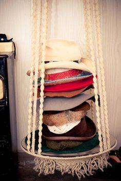 Hat rack, lot of potential, could use clips on the ropes for jewelry or whatever