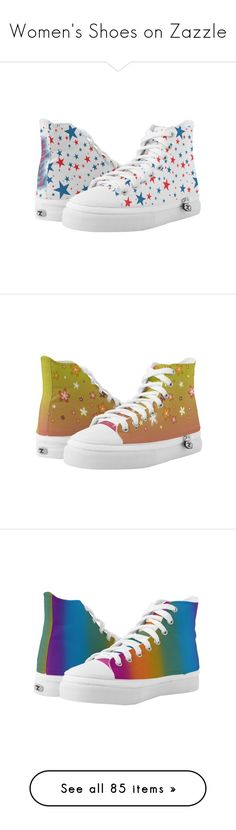 Women's Shoes on Zazzle by christy-leigh-official on Polyvore featuring women's fashion, shoes, red blue shoes, blue shoes, red hi tops, blue high tops, high top shoes, hi tops, pink shoes and rose pink shoes