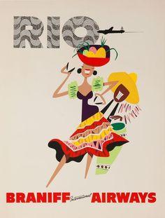DP Vintage Posters - Braniff Airways Rio de Janeiro Original Travel Poster Woman Brazil