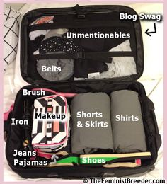 """#packituppackitin Carry-on only packing! Again, wtf with the pay-per-view bloggery?  (Hint: labels """"shorts and skirts"""" or """"shirts"""" -  It is a pillow case with your shirts/skirts layed out, limit 10 shirts/skirts, and rolled into a burrito.)  Organized packing / travel"""