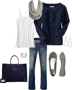 Cozy navy cotton cable sweater is a good bet on a cold day. No on purse-can't wear flats.