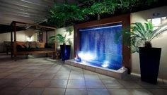 Indoor waterfall Indoor Waterfall, Water Walls, Wall Bar, Water Tank, Luxury Living, Water Features, Fountain, Interior Decorating, Sweet Home