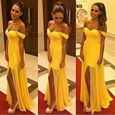 Floor Length Off The Shoulder Yellow Bridesmaid Dress,Long Yellow Chiffon Bridesmaid Dresses