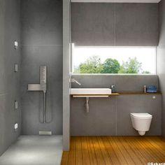 Douche italienne dans salle de bain design. Carrelage gris sol bois exotique
