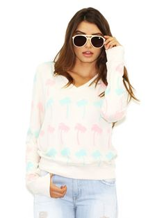 #Wildfox Beach Baggy V Neck Pastel Palms Jumper in Vintage Lace