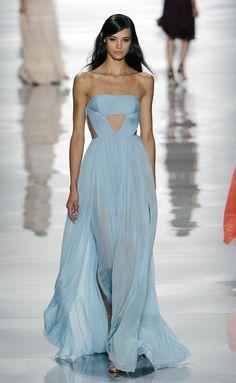Long baby blue dress, Reem Acra spring summer 2015