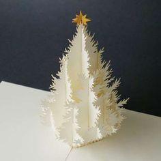 Pop up card christmas tree.  --- White-on-White #WhiteOnWhite  White on White