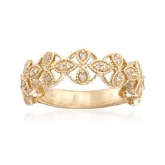 .10 ct. t.w. Diamond Floral Band in 14kt Yellow Gold   #832605 @ ross-simons.com