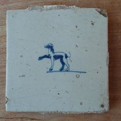 "Antique original hand painted Dutch tile from the 17th century ""dog"""