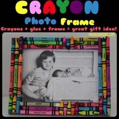 Crayon Photo Frame - handmade by kids. A gorgeous gift idea Fun Arts And Crafts, Crafts To Do, Diy Crafts For Kids, Art For Kids, Craft Ideas, Diy Ideas, Recycle Crafts, Family Crafts, Toddler Crafts