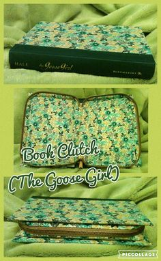 Handcrafted Book Clutch, Green Spine (Titled:The Goose Girl) With Fun Floral Pattern, Zips Closed To Store All Your Items.