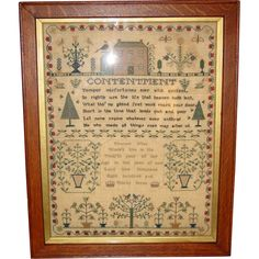 Sampler by Eleanor May 1833-Contentment verse from sydowsantiques on Ruby Lane