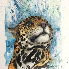 Watching Jaguar - Panthera onca - watercolor big cat.