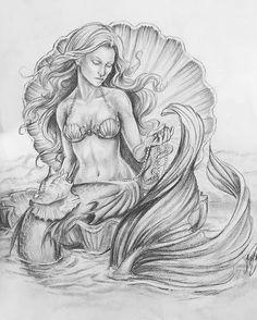 Pin by sorrows fade on adult coloring pages in 2019 mermaid drawings, merma Mermaid Artwork, Mermaid Drawings, Mermaid Tattoo Designs, Mermaid Tattoos, Octopus Tattoos, Fantasy Mermaids, Mermaids And Mermen, Fantasy Drawings, Fantasy Art