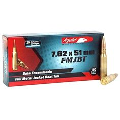 Aguila #308 Winchester/7.62x51mm ammo for sale online at #cheap discount prices with #free shipping available on bulk #7.62x51mm ammo orders only at TargetSportsUSA.com. Aguila 7.62x51mm/308 Winchester ammo by Aguila is new production ammunition, is re-loadable, features brass casing and boxer primers.