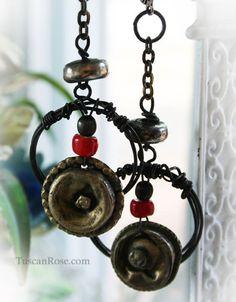 ON SALE Dark Angel dangle Earrings  Urban Gypsy by TuscanRose, $32.00