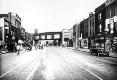 photograph of Commercial Road, towards Rotherhithe Tunnel approach, 1936 East End London, Old London, London City, London History, Vintage Pictures, Billboard, Britain, Past, Commercial