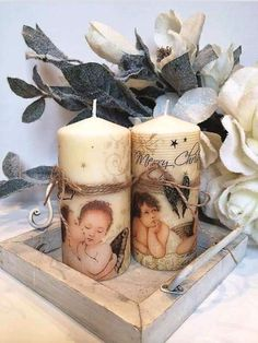 Christmas Decoupage, Christmas Crafts To Make, Best Candles, Diy Candles, Decoupage Tins, Candle Art, Essential Oil Candles, Diy Candle Holders, Christmas Candles