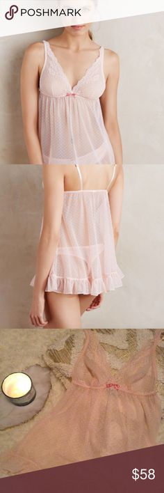 Anthropologie Baroque Lace Chemise in Blush A lace-detailed chemise from Anthropologie, our eponymous collection of lingerie and loungewear that is unerringly well-fitting, unbelievably soft and unabashedly feminine.  Never been worn! Anthropologie Intimates & Sleepwear Chemises & Slips