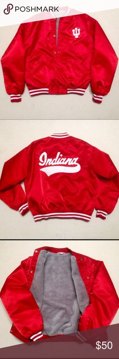 Indiana University - IU Vintage Bomber Jacket ❤️ IU - Indiana University ❤ Vintage Bomber Jacket   This is a real vintage bomber made by The Jacket Factory in Salem, Indiana.  Tag still shows Jacket Factory with phone number.   100% Nylon with Faux fur inside Snap button front  Men's Size Small   Has small snag near front right pocket and very small black (possibly ink) stains on left sleeve. Both shown in pictures. Still excellent condition for a very old jacket!  ❤️ Make this one-of-a-kind…