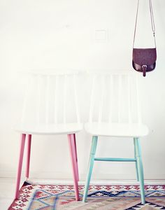 Pink, blue, white. Crazy how just paint can turn boring old chairs into something wonderful!