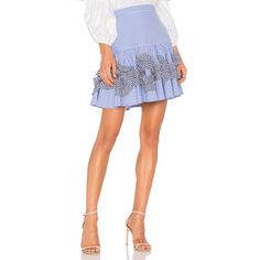 Alexis Daly Skirt ($395) ❤ liked on Polyvore featuring skirts, mini skirts, frill skirt, flouncy skirt, alexis skirt, white mini skirt and mini skirt