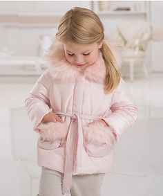 dave & bella Light Pink Faux Fur Hooded Puffer Jacket - Infant | zulily