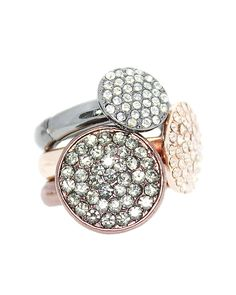 3 Pave Stone Stackable Stretch Ring - VR0031-CHOCOLATE MULTI