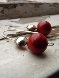 Contrast earrings Sterling silver and copper Sponge by aforfebre