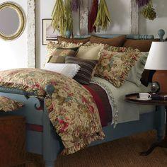 ralph lauren bedding on two twins, blue painted bed frames?
