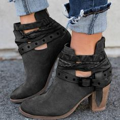 Load image into Gallery viewer, HEE GRAND Buckle Strap Women Ankle Boots Casual Platform Shoes Woman High Heels Western Boots Slip On Winter Women Shoes - Peaceloversart by Miranda Chunky Heel Ankle Boots, Buckle Ankle Boots, Heeled Boots, Black Booties, Ankle Booties, Black Ankle Boots, Suede Booties, Chunky Heels, High Boots