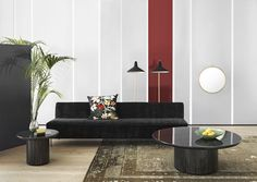 GUBI // Modern Line sofa size 240cm with Dedar Belsuede 015 upholstery, G10 floor lamps in black, a Randaccio mirror size Ø60 and Moon lounge tables sizes Ø60 and Ø120
