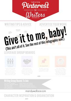Infographic outlining ten ways to use Pinterest for writers: character design, writing inspiration, setting, worldbuilding, marketing for writers, plus+.