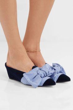 Trademark velvet bow slippers #shoes