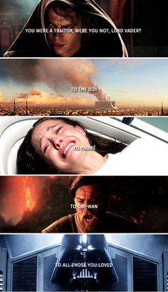 """Again the smile or snarl from his Master. """"You were a traitor, were you not, Lord Vader?"""" Vader's breathing caught on the hook of sudden anger. """"What did you say?"""" """"To the Jedi. To Padmé. To Obi-Wan. To all those you loved."""" His Master turned to look at him, his eyes reflecting the flames. Vader didn't know the answer his Master wanted to hear, so he simply answered the truth. """"Yes"""". -Lords of the Sith by Paul S. Kemp"""