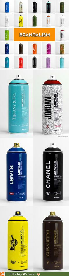Branded spray paint cans express the influence of Street Art on Fashion in Brandalism. Signed cans and screen prints are available for purchase. Packaging Design Inspiration, Web Design Inspiration, Branding, Guerrilla Advertising, Culture Jamming, Spray Paint Cans, Spray Can, Bottle Packaging, Bottle Painting