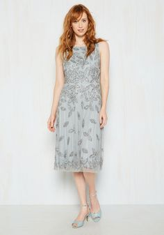 Give Everything You've Haute Sequin Dress. Making an impression at your upcoming soiree is as easy as wearing this beaded gown. #silver #modcloth