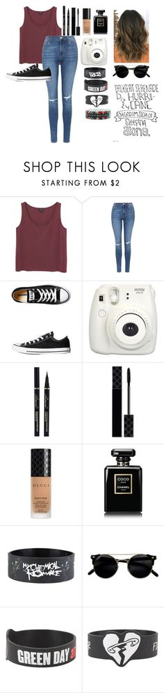 """""""Untitled #480"""" by until-edm-comes ❤ liked on Polyvore featuring Monki, Topshop, Converse, Fujifilm, Gucci and Chanel"""